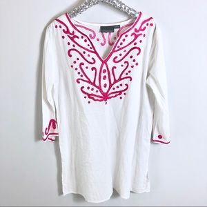 Cynthia Rowley White and Pink Embroidered Coverup